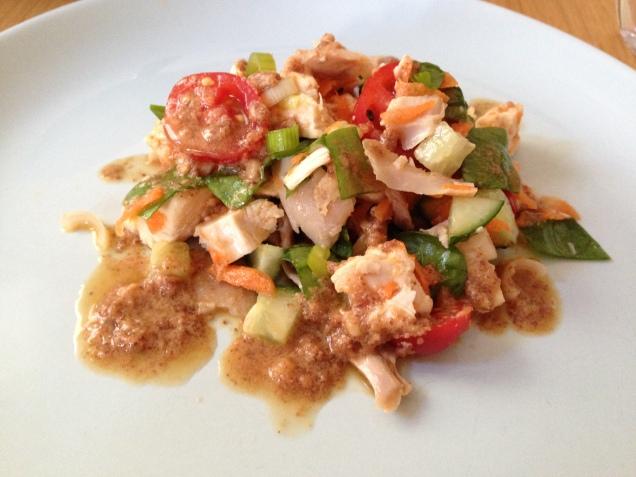 Chicken salad with almond thai sauce.