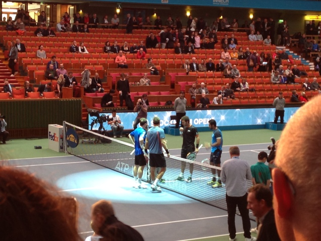 Start of the doubles final. The swedish couple lost against the much higher ranked competitors.