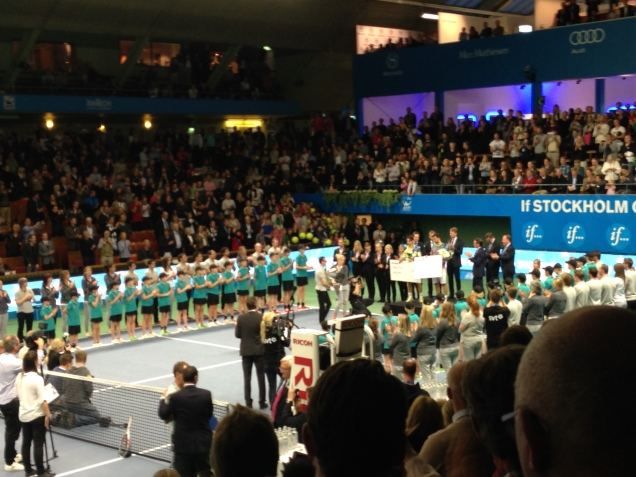 Prize ceremony. Dimitrov played his first ATP final and won. Great played against the no 1 seed (of the tournament) Ferrer.