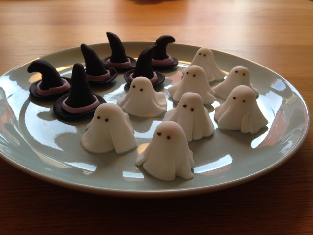 My ghost and witch hat decorations.