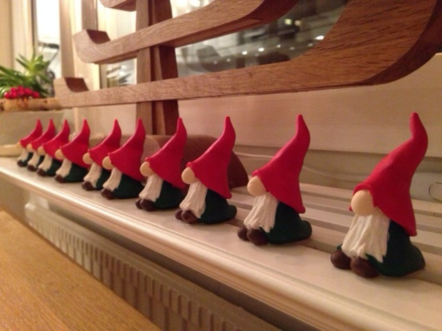 Gnome parade in my kitchen window.
