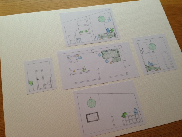 Plan view and elevations (side views) of the family room.