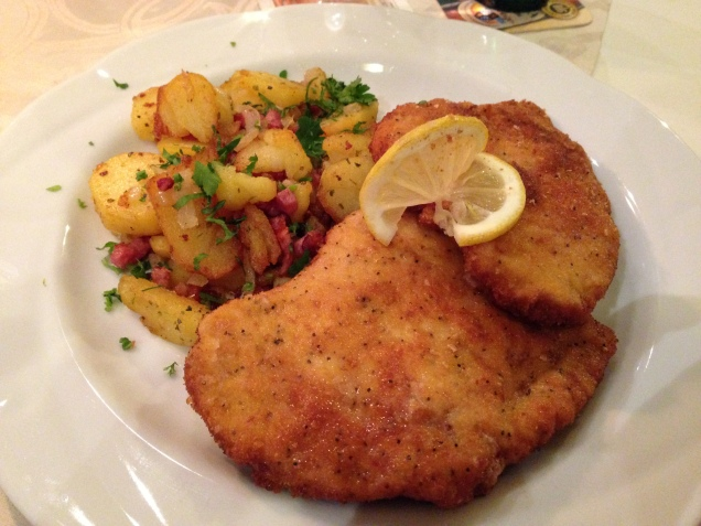 You can't be in Germany and not eat Schnitzel and bratkartoffeln (fried potato with bacon and onion)