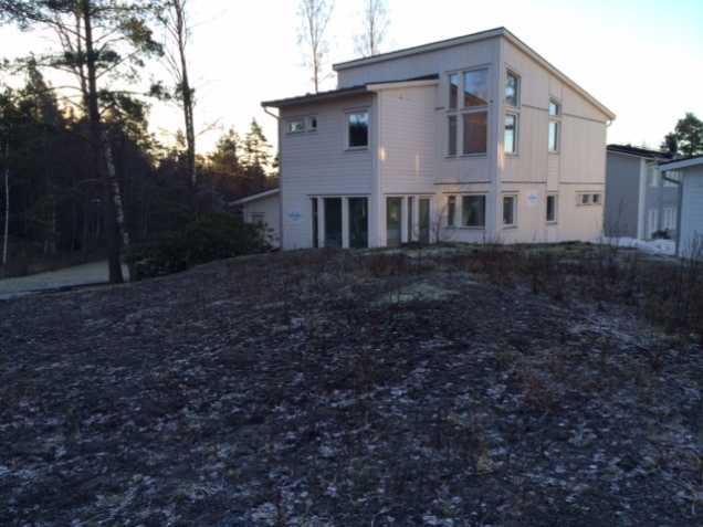 Backview of the house. The high windows are in the great room on the second floor.