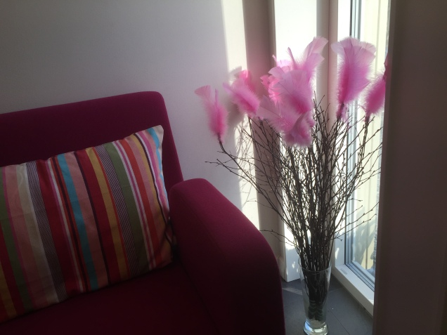 "A must when Easter is near... ""Påskris"" (Easter tree) with colourful feathers."