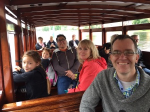 On a boat cruise along the canal in the town of Karlstad together with our friends.