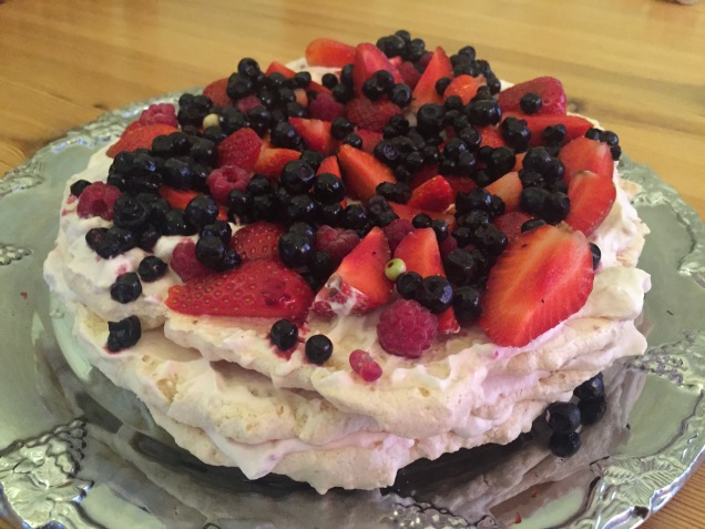 Hubby had baked a natural gluten free meringue cake with fresh berries. Perfect end to a great evening!